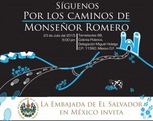 Invitación a evento de presentación del libro Por los caminos de Monseñor Romero en la embajada de El Salvador en México