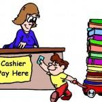 niño comprando libros