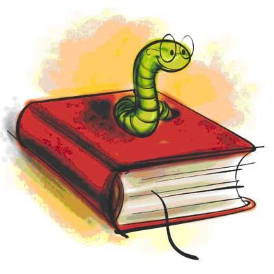 como cuidar tus libros - libro con gusano