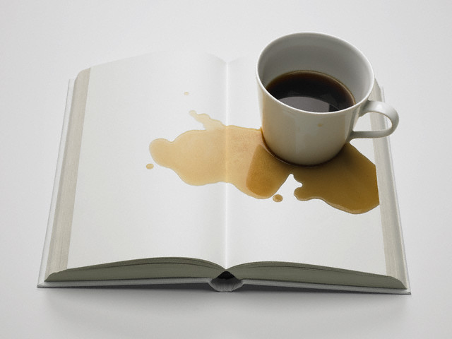 Blank Book with Spilled Coffee