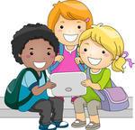 niños leyendo en tablet